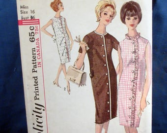 Vintage Simplicity Pattern 5501 - Misses One Piece Step In Dress - Size 16 - 1964
