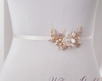 Floral Wedding Sash, Bridal Belt, Gold Bridal Belt, Custom Wedding Belts and Sashes - Style 790