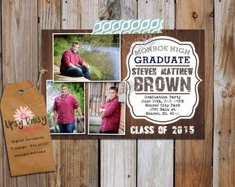Rustic Guys, Graduation Announcement Party Invitation with Pictures, High School or College University Photos Fully Customized, You Print