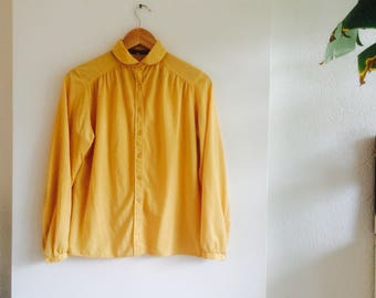 Vintage blouse | 70's blouse | vintage yellow top | yellow blouse | vintage blouse size M |