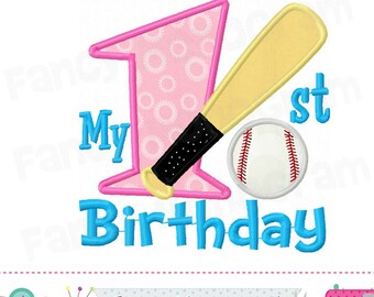 My 1st Birthday with Baseball,Baseball,Number 1 applique,1,Baseball applique,Baseball,Babies applique,Baseball embroidery.-1774