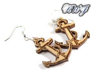 Anchor Earring, Harbor, Marines, Wood Jewelry