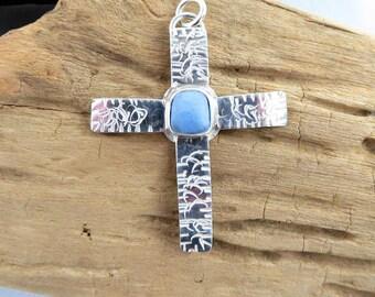Sterling Silver Powder Blue Sea Pottery Cross Pendant