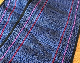 2.5 Yards Hmong Ethnic Fabric Bohemian Style Handprinted Thai Batik Textile 332