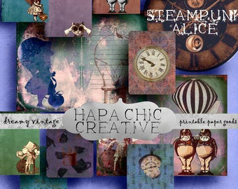 SALE  Steampunk  Alice  Digital Journal Kits  Printable Journal  Alice in Wonderland  Clip Art  Clipart   DIY journal  Junk Journal