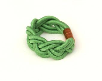 Green Braided Bracelet, Cord Bracelet, Statement Bracelet, Unique Bracelet, Textile Bracelet, Cotton Bracelet, Fabric Summer Bracelet
