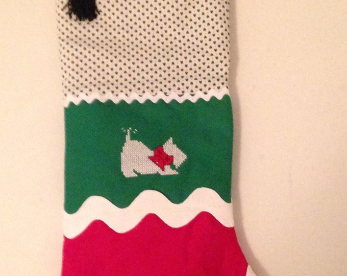 HALF PRICE ** Scottie Dog Traditional Vintage-style Quilted Patchwork Christmas Stocking. Green and Red accented with Cross Stitch Scottie