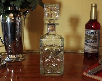 Vintage Liquor Decanter, Whiskey Decanter, Glass Decanter with Cork Top, Scotch Decanter, Mad Men Barware