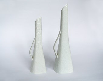 2 white porcelain Op-art vases by Hutschenreuter Germany Mid Century 60s 70s