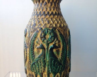 West Germany Bay floor vase with Peacock 961-30