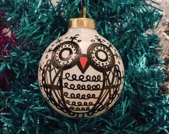 Snowflake Owl porcelain round ornament