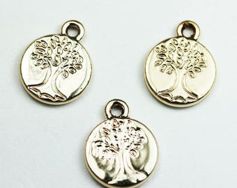 8pcs Jewellery findings Tree of Life Charm beads,Family Tree Charm, Gold plated brass, 12mm - FDB00335