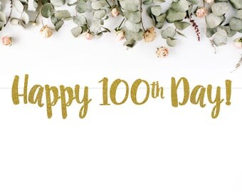 HAPPY 100TH DAY banner (S7) - glitter / banners / party decor / photo backdrop / baby / baek il janchi / 백일 잔치