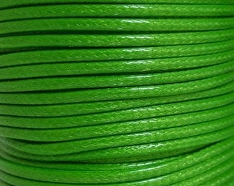 5 Metres 2mm KOREAN Waxed Cotton Cord - Round LIME GREEN Cotton Wax Cord - Cotton Beading Stringing Cord - Australian Seller