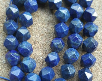 """Faceted Round/Polygon 8mm Natural Gemstone Lapis Lazuli Beads, Dyed - 16"""" Strand"""
