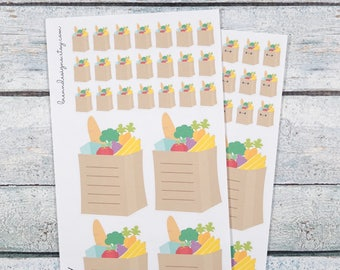 Grocery Bag Icons, Shopping List Stickers, Kawaii Grocery Bags, Icon Planner Stickers