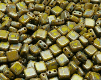 20pcs Two Hole Pressed CzechMates Glass Tile Beads 6mm Opaque Olivine Travertine