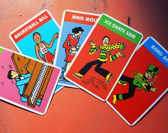 Vintage Old Maid Cards, Vintage Game Cards, Cards by Cardinal, Basketball Bill, Maid Molly, Ice Skate Sam, Band Benny, Piano Pete