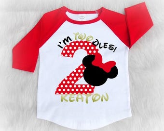 I'm Twodles - second birthday shirt - minnie mouse birthday shirt - 2nd birthday shirt - raglan shirt for toddlers - I'm twoodles