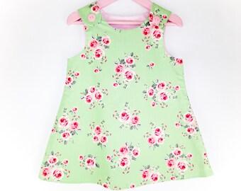 Girls pinafore dress  baby girl dress  toddler dress  baby girl pinafore  girls pinafore  floral dress  A-line dress  Summer dress
