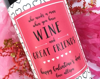 Galentines Wine Labels Valentine's Labels Valentine's Day Gift for Her Gift for Friend