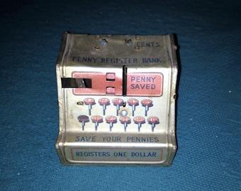 Vintage Linemar Penny Register Bank Line Mar Bank Pennies Saved