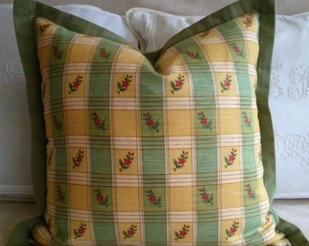 "Yellow Green Check Plaid Pillow Cover with Flange 18x18"" ON SALE!"