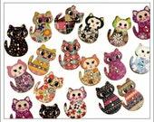 20 Mixed Cat Buttons, wooden buttons, cat buttons, printed buttons, buttons, crafts, scrapbooking, cardmaking, embellishments, UK seller