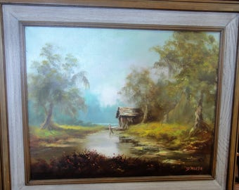 Vintage Oil on Canvas/ Old Shack/ Stream/ Trees/Signed