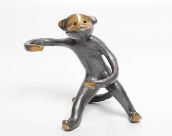 Vintage Brass Monkey Figurine, Statuette, Walter Bosse