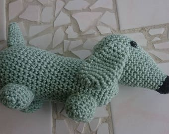 Crochet Dachshund by 100% cotton green, mint green crocheted dachshund filled with fiberfill