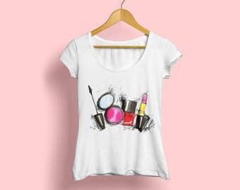 Makeup Tshirt, Makeup shirt, Makeup artist tee, Makeup artist gift, For Makeup artist, Makeup tee, Lipstick Tshirt, Makeup art, Fashion tee