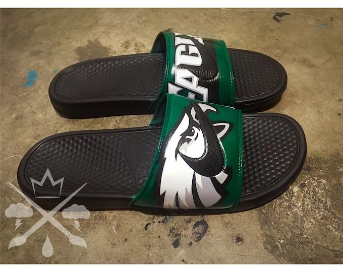 Nike Custom Philadelphia Eagles Philly Football Benassi Swoosh Slide Sandals Flip flops Mens Womens Kids