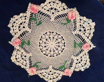 Vintage hand crochet White Cotton Doilie pink varigated flowers