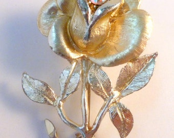 Vintage Large Gold Tone Rose Flower Brooch By Hollywood.