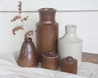 Antique Stoneware Collection ~ Rustic Collectable Primitive Salt Glaze