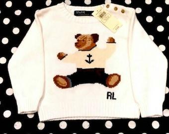 Vintage Ralph Lauren Bear  Sweater toddler
