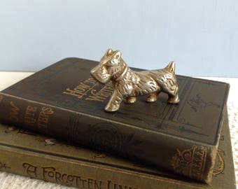Vintage Solid Brass Scottie Dog Scottish Terrier Ornament