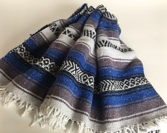 Vintage Blue Mexican Blanket