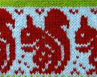 Red Squirrel Chart - Stranded knitting - Fairisle - Instant Digital Download - PDF