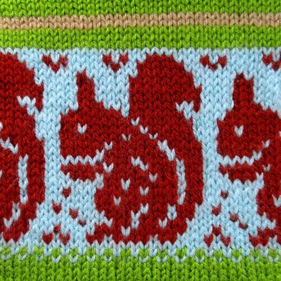 Red Squirrel Chart - Stranded knitting - Fairisle - Instant ...