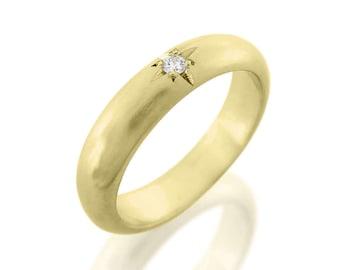 Handmade diamond ring, Diamond wedding ring, Unique diamond ring, Yellow gold diamond ring, Unique engagement ring, Star gold ring