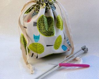 Retro Effect Drawstring Bag / Gift Bag / Abstract / Trees / Leaves/ Green / Knitting Bag / Crochet Bag / Project Bag
