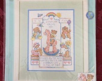 Bear Buddies Birth Record Counted Cross Stitch Kit NEW 9 x 12 Dimensions 72818