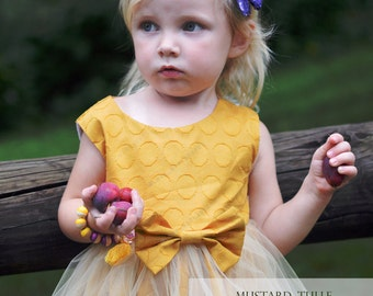 baby toddler mustard tulle dress
