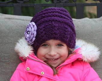 Knitted girls hat.Purple knitted hat. Winter knitted hat. Flower knit hat. Girls knitted hat  Any color flower, any size. For age 0-16 years