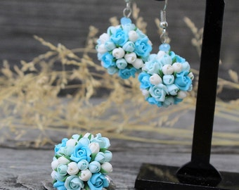 Polymer Clay Earrings and Polymer Clay Ring, Polymer Clay Jewelry, Polymer Clay Flower, Flower  Earrings, Polymer Clay Flower Earrings