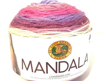 Mandala yarn, Mandala Wood Nymph, LionBrand Mandala, yarn destash, Mandala yarn cake, crochet yarn, knit yarn, color change yarn, multicolor