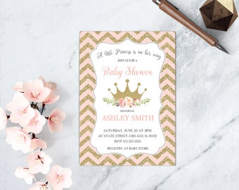 Pink and Gold Floral Princess Baby Shower Invitation, Floral Crown Baby Shower Invite, Chevron Baby Girl Invitation, Printable Invitation