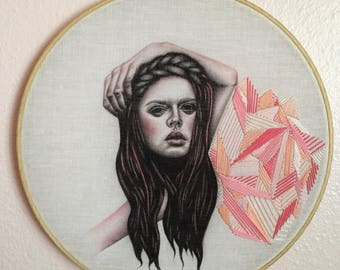 Original charcoal fashion portrait on fabric with geometric emboridery in embroidery hoop